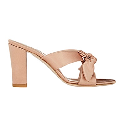 Bow-Detailed Satin Mules