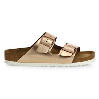 Arizona Metallic Leather Buckle Sandals