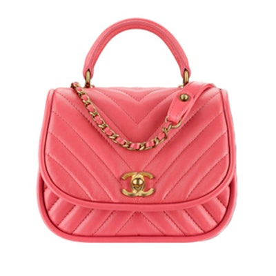 Flap Bag With Top Handle in Pink