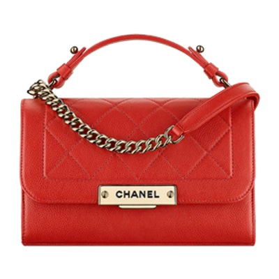 Flap Bag With Top Handle in Red
