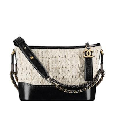Gabrielle Small Hobo Bag in Off-White & Black