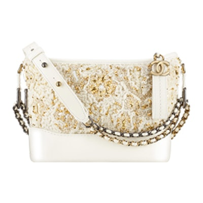 Gabrielle Small Hobo Bag in White & Gold