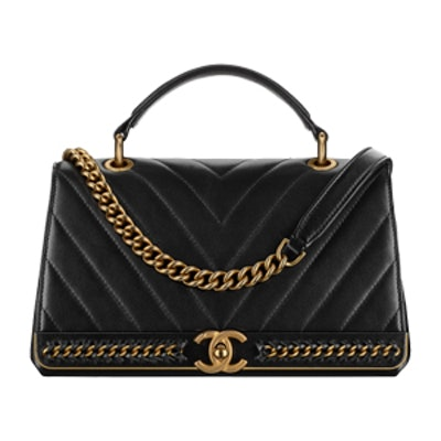 Flap Bag With Top Handle in Black