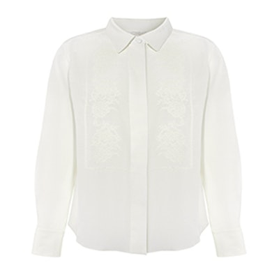 Embroidered Silk Crepe De Chine Shirt