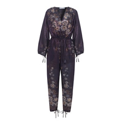 Metallic Striped Floral-Print Cotton-Blend Jumpsuit