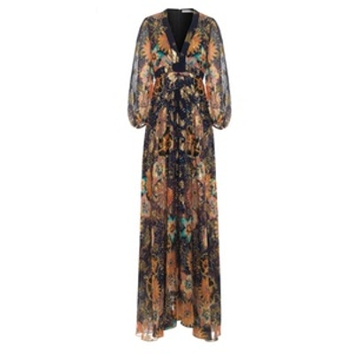 Floral-Print Metallic Fil Coupé Silk-Gauze Maxi Dress