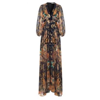 Floral-Print Metallic Fil Coupé Silk-Gauze Maxi Dress