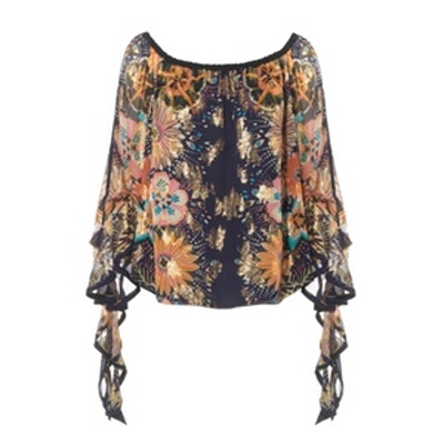 Off-The-Shoulder Floral-Print Fil Coupé Silk Blouse