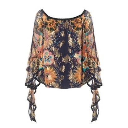 Off-The-Shoulder Floral-Print Fil Coupé Silk Blouse