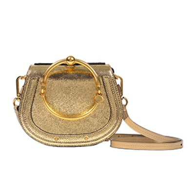 Nile Bracelet Small Metallic Leather And Suede Shoulder Bag