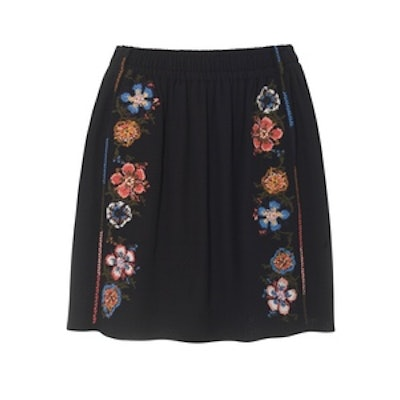 Embroidered Crepe Mini Skirt