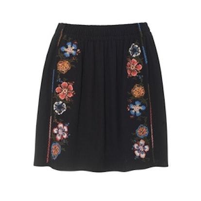 Embroidered Crepe Mini Skirt