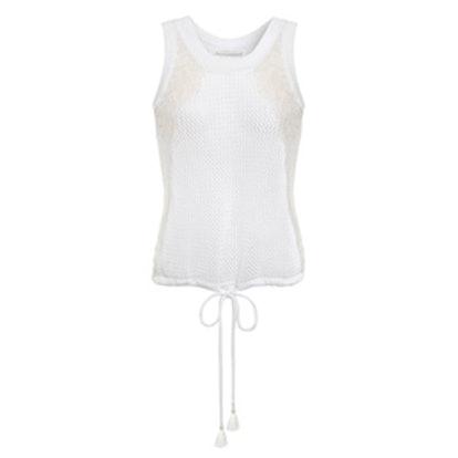 Lace-Paneled Open-Knit Cotton Top