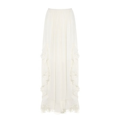 Ruffled Cotton And Silk-Blend Maxi Skirt