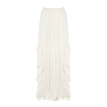 Ruffled Cotton And Silk-Blend Maxi Skirt