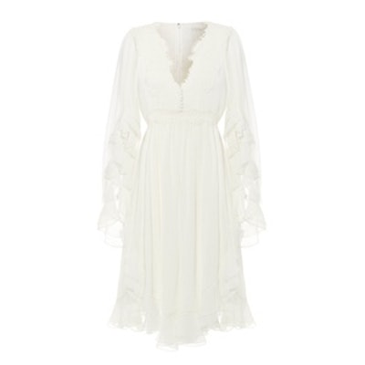 Ruffled Crocheted Lace-Paneled Silk-Crepon Mini Dress