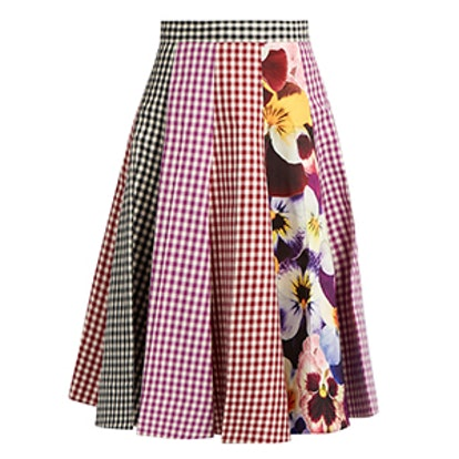 Gingham And Pansy-Print A-Line Cotton Skirt