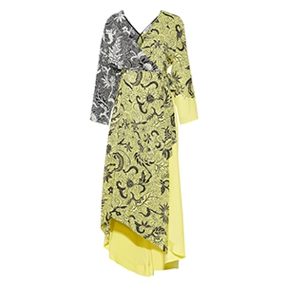 Printed Silk Crepe de Chine Wrap Dress
