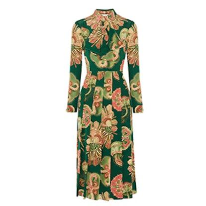 Pleated Printed Silk Crepe de Chine Midi Dress