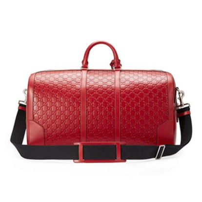 Signature Large Leather Duffle Bag, Red
