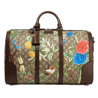 Leather-Trimmed Coated-Canvas Weekend Bag