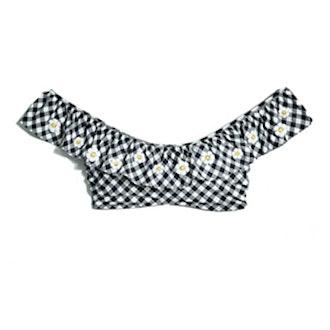 Gingham Ruffle Bikini Top