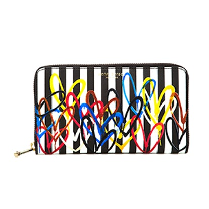 Love Stripe Zip Continental Wallet