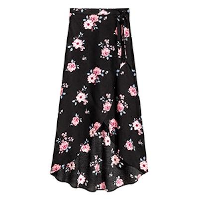 Long Wrap-Front Skirt