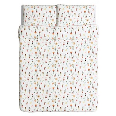 Rosenfibbla Duvet Cover And Pillowcases White And Floral Patterned