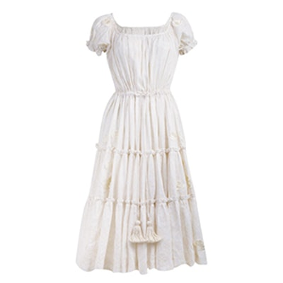 Peasant Milk Rose Puff Sleeve Dress