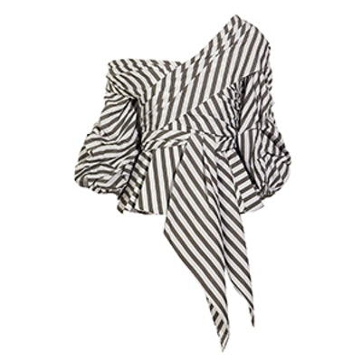 Santa Rosa One-Shoulder Striped Cotton-Blend Poplin Top