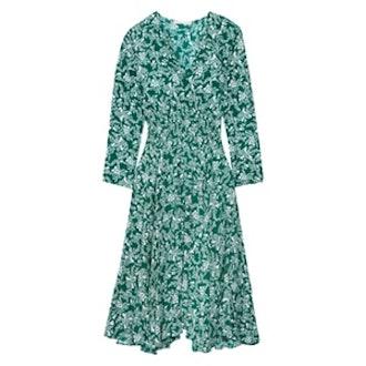 Rayelle Shirred Floral-Print Crepe Midi Dress