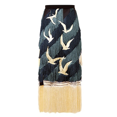 Tonal Fringe Embroidered Skirt