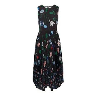 Ella Pleated Printed Chiffon Midi Dress