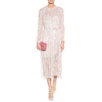 Stranded Garland Floral-Printed Silk Dress