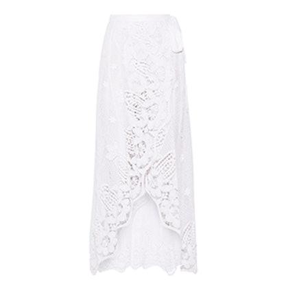 Valencia Crocheted Cotton-Lace Wrap Maxi Skirt