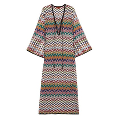 Mare Lace-Up Crochet-Knit Kaftan