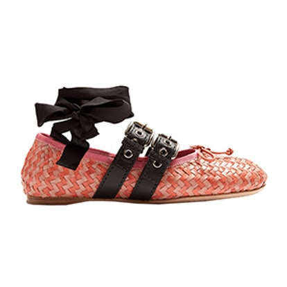 Buckle-Fastening Woven-Leather Ballet Flats
