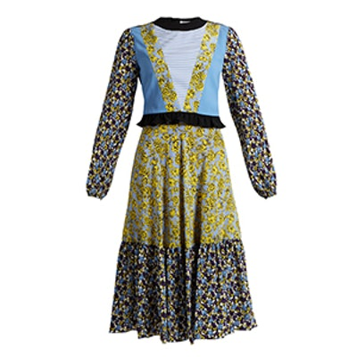 Floral-Print Contrast-Panel Long Silk Dress