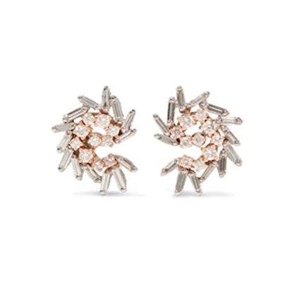 18-Karat White And Rose Gold Diamond Earrings
