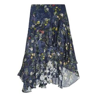 Laboni Floral-Print Devoré Silk-Blend Chiffon Midi Skirt