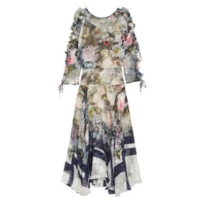 Jenna Floral-Print Devoré Silk-Blend Chiffon Midi Dress