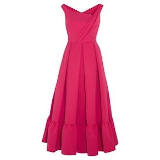 Palmer Pleated Stretch-Crepe Midi Dress in Fuchsia