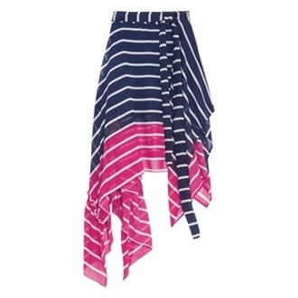 Eames Asymmetric Striped Silk-Chiffon Skirt