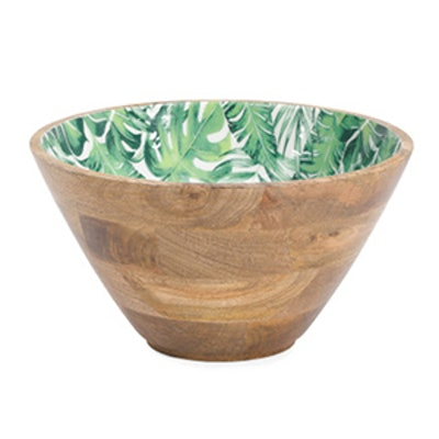 Made In India Palm Leaf Teak Wood Serving Bowl