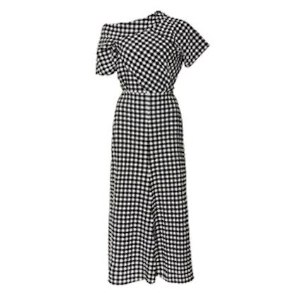 Off-The-Shoulder Gingham Midi Dress