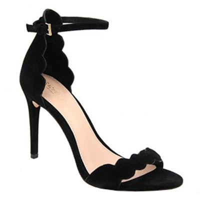 Ava Scalloped Suede Heeled Sandals