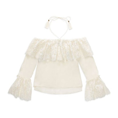 Cali Off-The-Shoulder Lace-Trimmed Silk Top