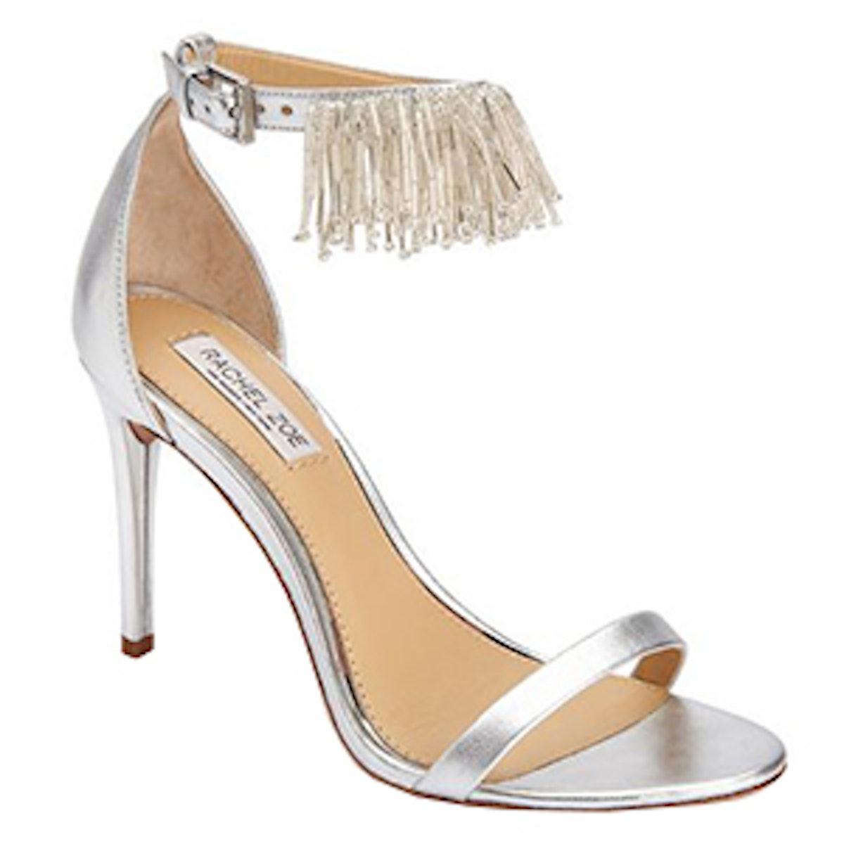 Emina Fringe Metallic Leather Heeled Sandals