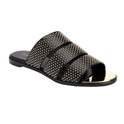 Rivi Studded Leather Tri-Strap Sandals